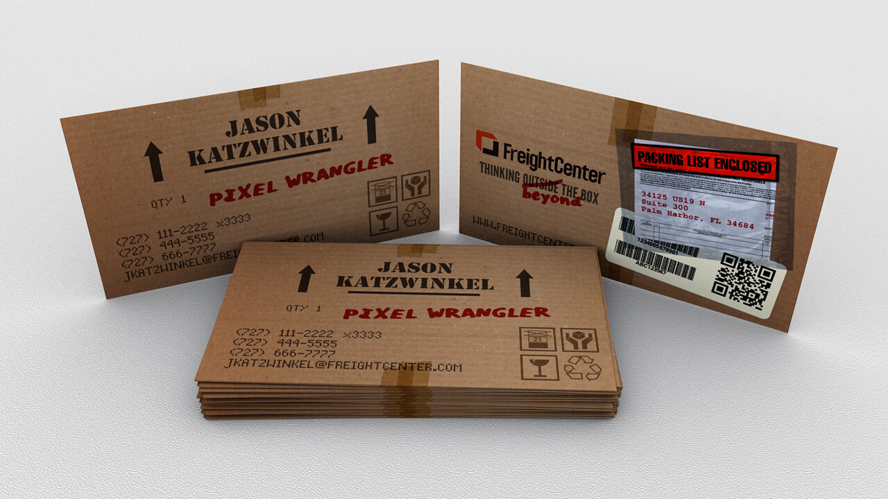Box Card: Concept for a business card for a shipping company